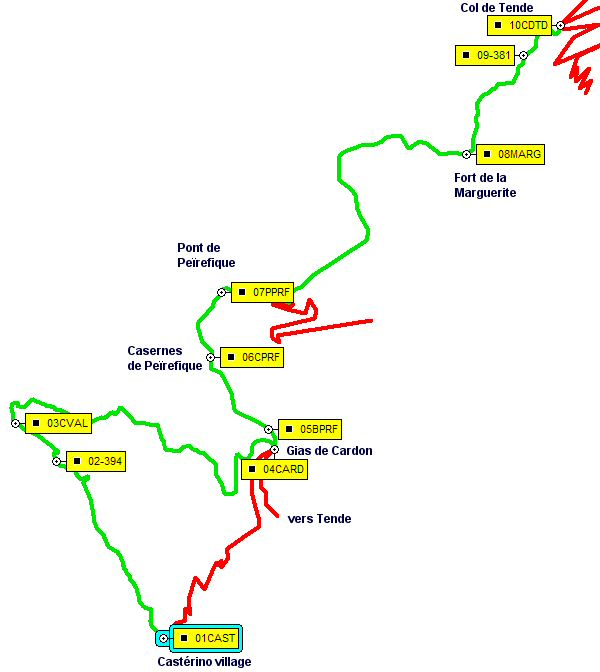 Plan de route de Castérino au Col de Tende - Route map from Castérino to Col de Tende